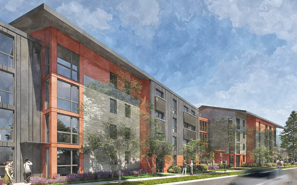 Alberina Kerr Workforce and Inclusive Housing. Gresham campus. NE 162nd Ave view. Click to enlarge