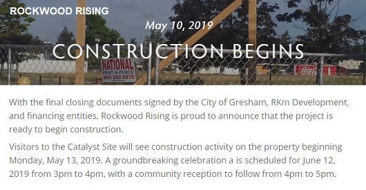 Rockwood Rising Project Construction Begins Monday, May 13, 2019. Groundbreaking June 12, 2019. Info here!