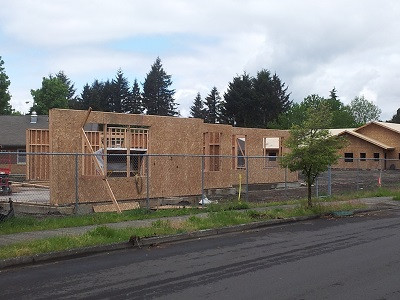 Albertina Kerr Project Phase I; Sub-Acure Framing (fore), New Residents Facility (back)