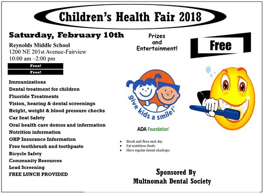 FREE DENTAL! Children's Health Fair 2018, Reynolds Middle School: Sat Feb 10, 2018 10AM-2PM. FREE Dental treatment, vision & hearing screening. Info here!
