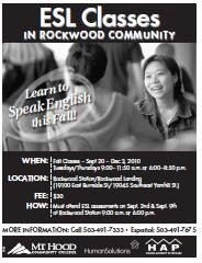 Learn to speak English. Rockwood ESL Classes this fall. Sign-up Sep 2nd & 9th, 2010 9AM-6PM. Classes begin Sep 20, 2010. Info here.